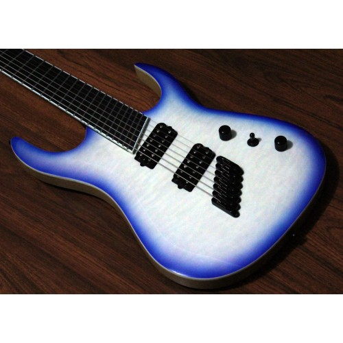 "MERUS - 7-string, 27""-25"" Multi-Scale, HALO Single Saddle, Transparent White Blue Burst"