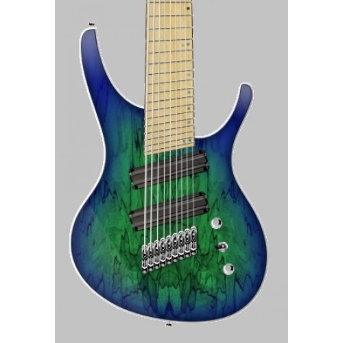 "OCTAVIA - 9-string, 30""-28"" Multi-Scale, Halo Single Saddle, Transparent Green with Blue Burst"