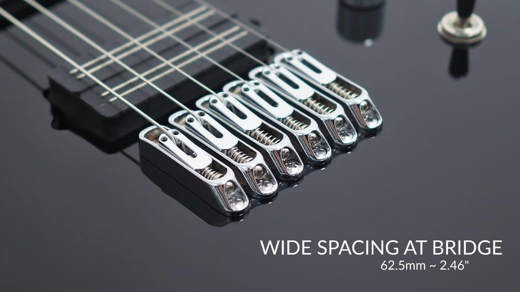 octavia 6 string wide neck guitar 52mm 25 5 scale black. Black Bedroom Furniture Sets. Home Design Ideas