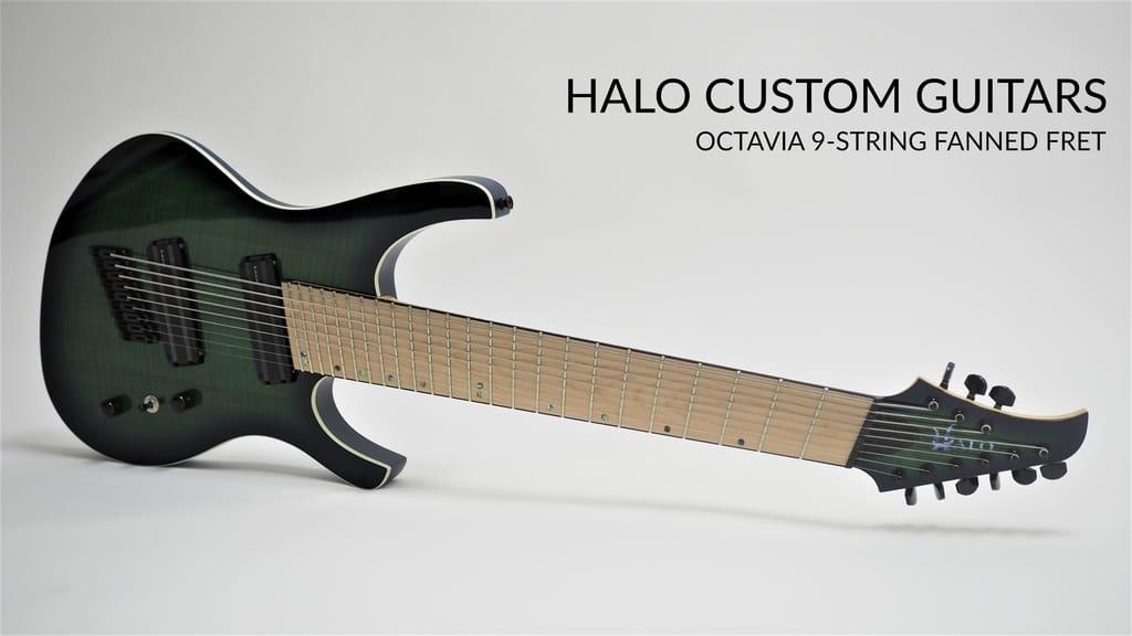 halo octavia 9 string guitar 30 28 fanned fret multi scale halo single saddle. Black Bedroom Furniture Sets. Home Design Ideas